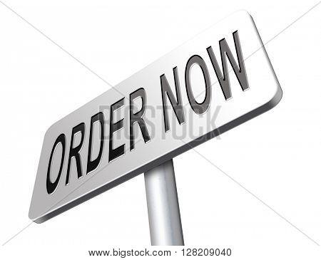 order now online at internet web shop button road sign billboard