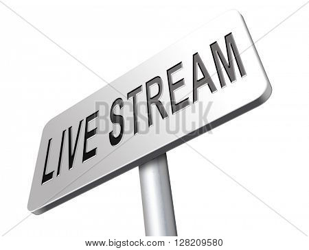 live stream music song audio or listen to radio streaming road sign billboard video or movie
