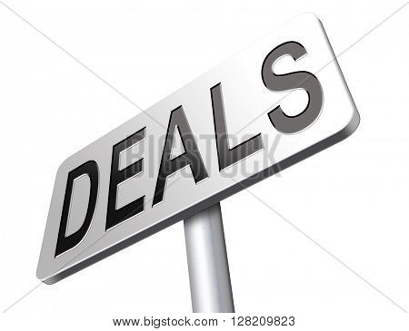 Deals great special sales offer road sign billboard.