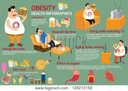 food and health obesity infographics. vector illustration.