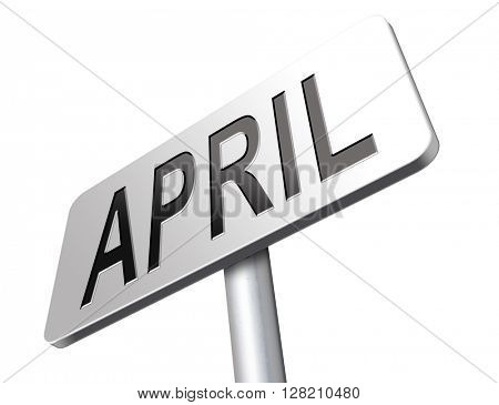 april spring month event calendar, roas sign billboard.