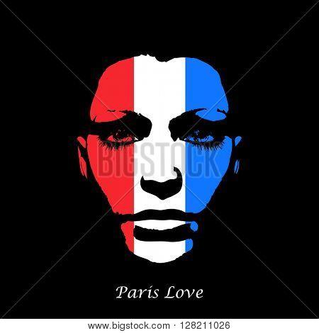 woman face france flag easy all editable