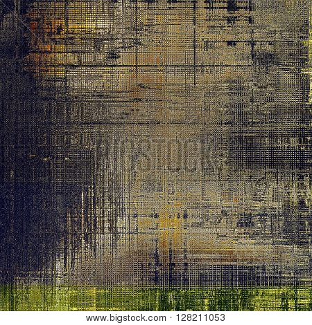 Art grunge background or vintage style texture with retro graphic elements and different color patterns: yellow (beige); brown; gray; blue; black