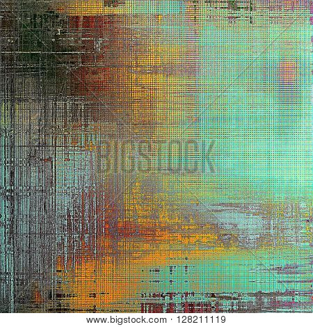 Ancient texture or damaged old style background with vintage grungy design elements and different color patterns: yellow (beige); blue; red (orange); black; cyan
