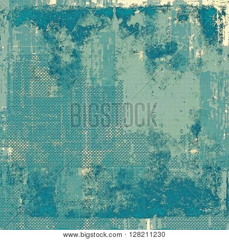 Retro style abstract background, aged graphic texture with different color patterns: yellow (beige); gray; blue; cyan