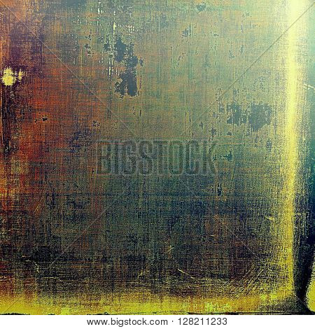 Old school frame or background with grungy textured elements and different color patterns: yellow (beige); brown; gray; green; red (orange); black