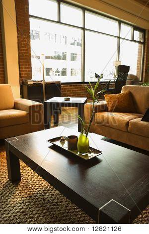 Living area of loft apartment.