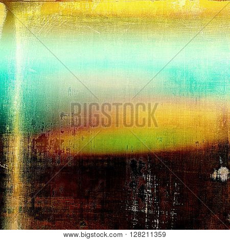 Old school frame or background with grungy textured elements and different color patterns: yellow (beige); brown; green; blue; red (orange); pink