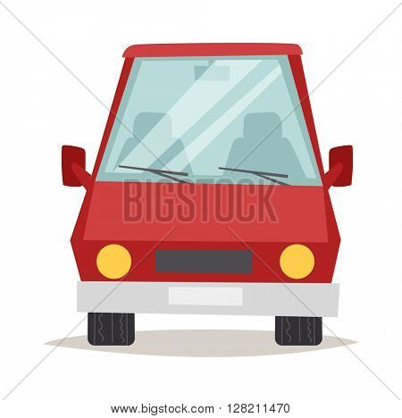 Red cartoon car front view design flat vector illustration