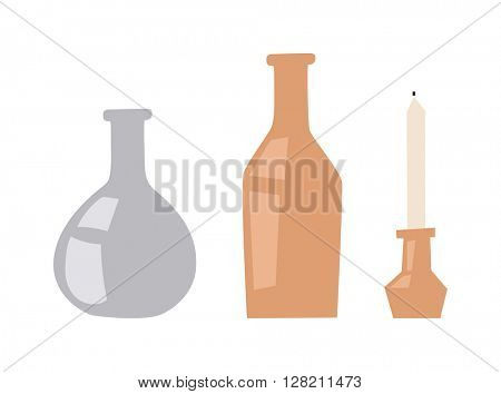 Vases and candle vector illustration.