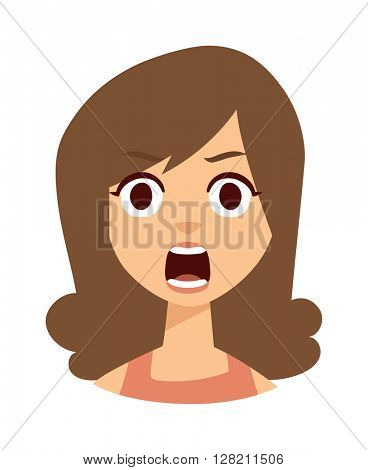 Woman shocked vector illustration.