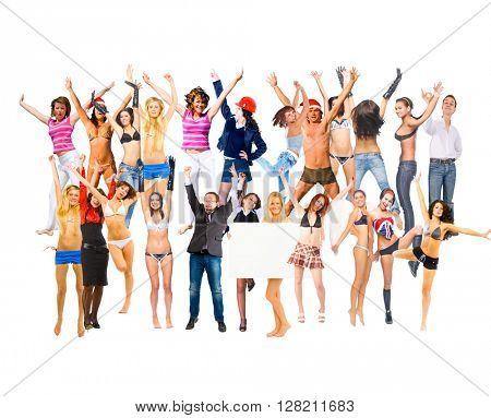 People Jumping Team Achievement