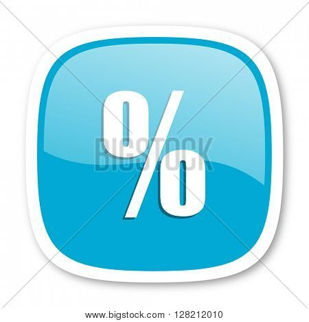 percent blue glossy icon
