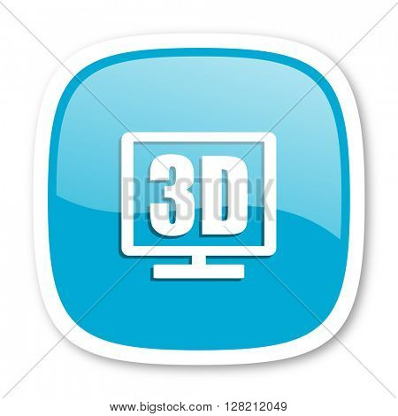 3d display blue glossy icon