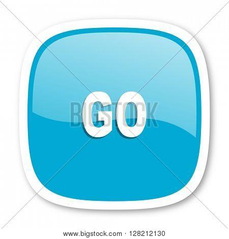 go blue glossy icon