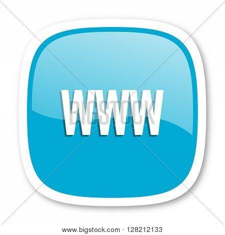 www blue glossy icon