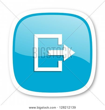 exit blue glossy icon