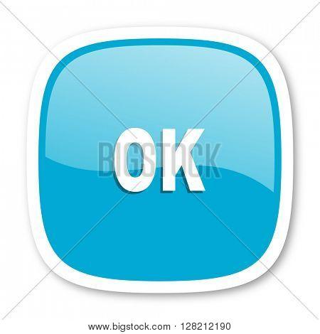 ok blue glossy icon