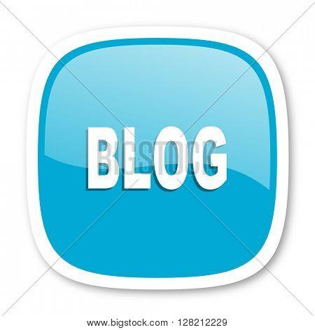 blog blue glossy icon