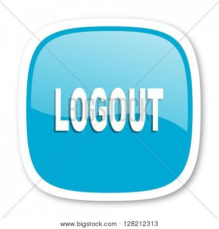 logout blue glossy icon