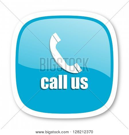 call us blue glossy icon