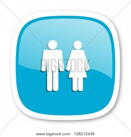 couple blue glossy icon