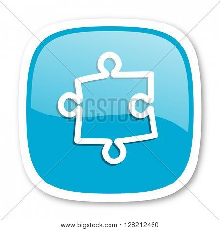 puzzle blue glossy icon