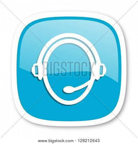 customer service blue glossy icon