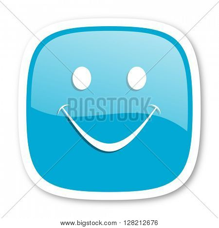 smile blue glossy icon