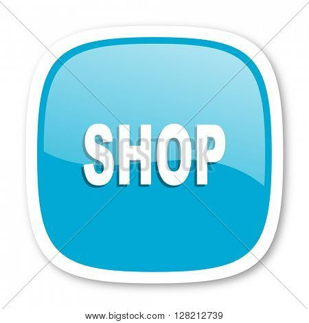 shop blue glossy icon