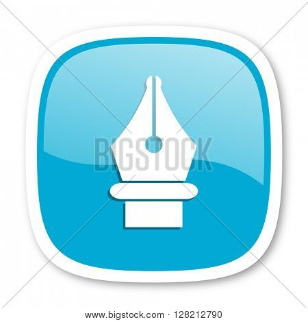 pen blue glossy icon