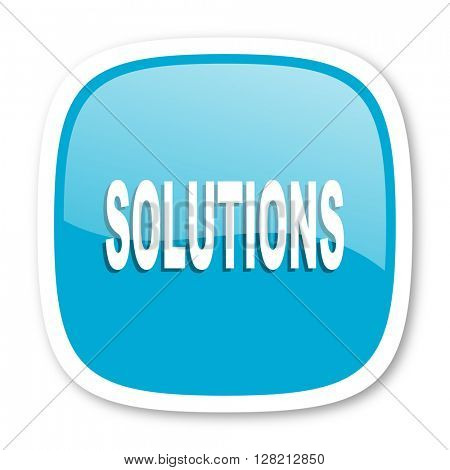 solutions blue glossy icon