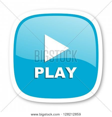 play blue glossy icon