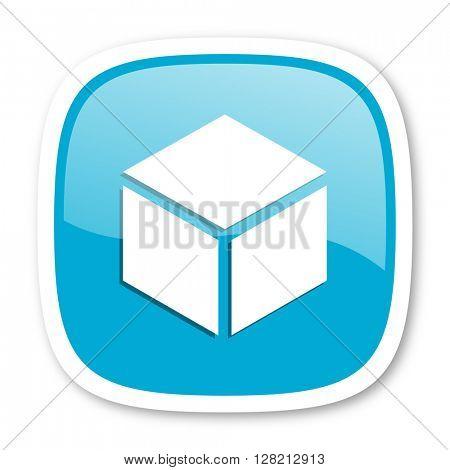 box blue glossy icon