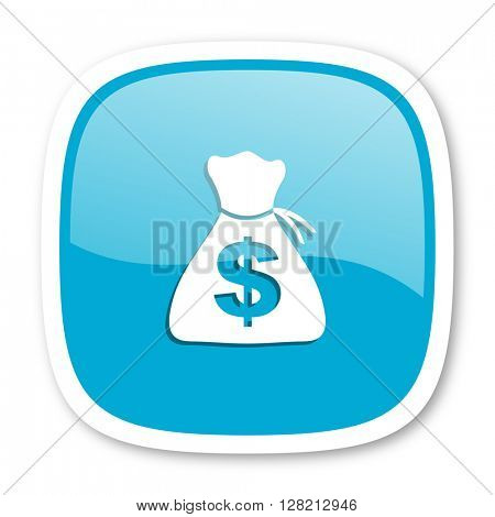 money blue glossy icon