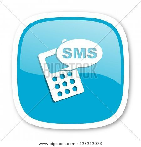sms blue glossy icon
