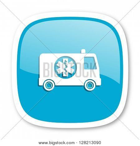 ambulance blue glossy icon