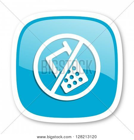 no phone blue glossy icon