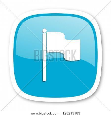 flag blue glossy icon