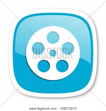 film blue glossy icon