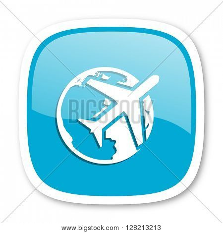 travel blue glossy icon