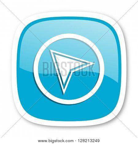 navigation blue glossy icon