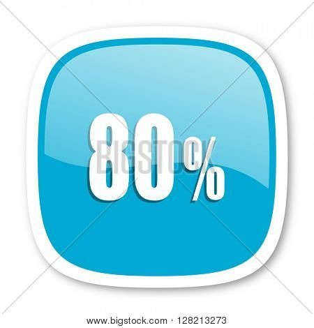 80 percent blue glossy icon