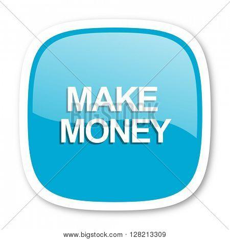 make money blue glossy icon