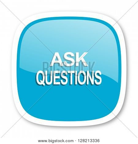 ask questions blue glossy icon