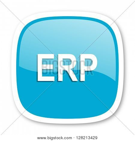 erp blue glossy icon