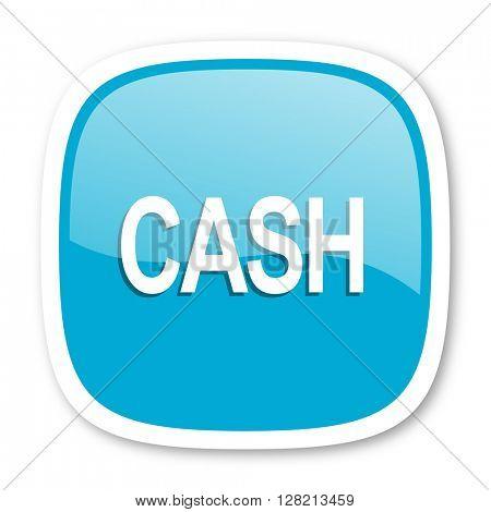 cash blue glossy icon