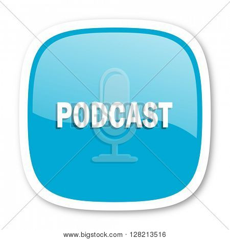 podcast blue glossy icon