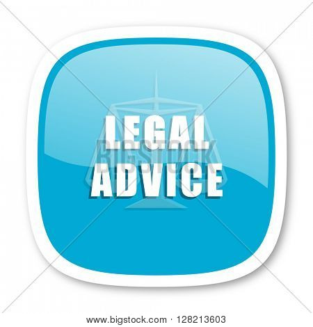 legal advice blue glossy icon