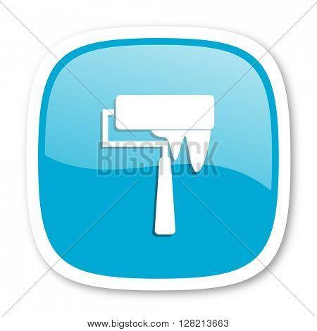 brush blue glossy icon